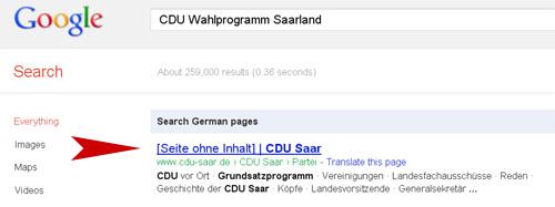 Bild Wahlprogramm CDU Saarland in Google Suche