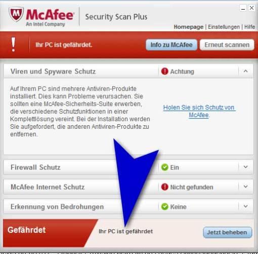 McAfee installiert mit Adope Flash