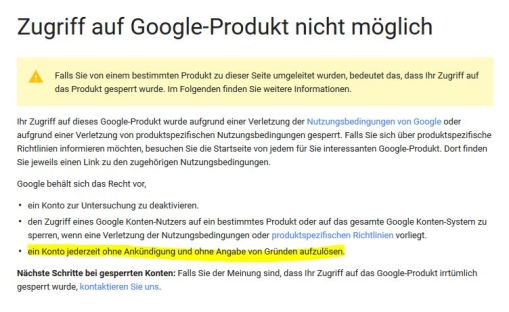 google-sperre